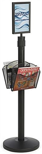 Stanchion w/ 2 Literature Pockets & Sign Frame for Promotional Use