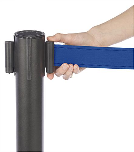 "Stanchion w/ (2) Literature Pockets & Sign Holder & Blue Belt – 2"" Wide"