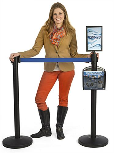 Stanchion w/ (2) Literature Pockets & Sign Holder & Blue Belt – Double Sided