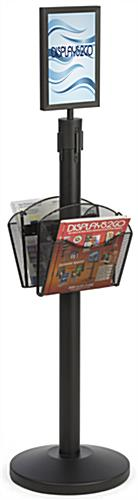 Stanchion w/ (2) Literature Pockets & Sign Holder & Blue Belt – Steel