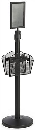 Stanchion w/ (2) Literature Pockets & Sign Holder & Gray Belt –  Extendable