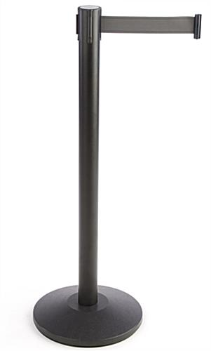 Stanchion w/ (2) Literature Pockets & Sign Holder & Gray Belt – Circular Base