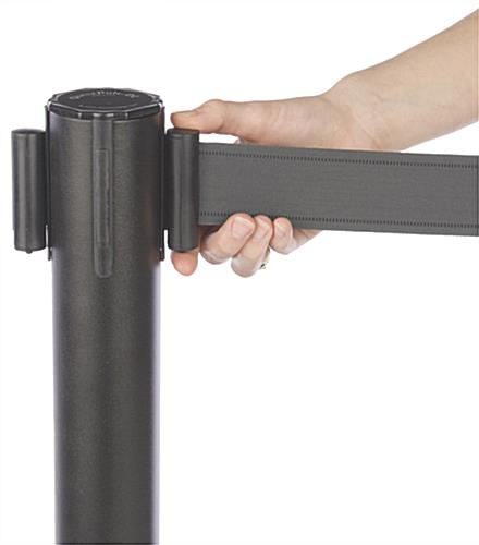 Stanchion w/ (2) Literature Pockets & Sign Holder & Gray Belt – Quick Locking