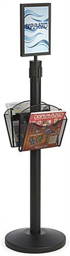 Stanchion w/ (2) Literature Pockets & Sign Holder & Gray Belt – Mesh
