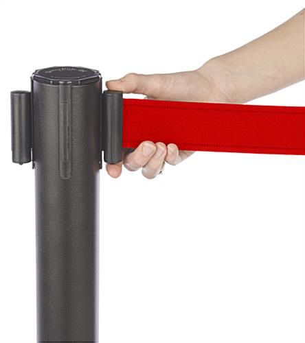 Stanchion w/ (2) Literature Pockets & Sign Holder & Red Belt – Easy Locking