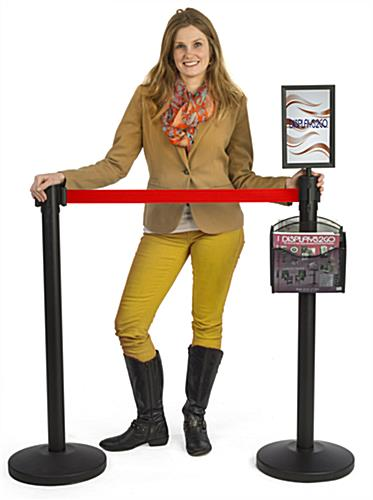 Stanchion w/ (2) Literature Pockets & Sign Holder & Red Belt – Two Poles Per Set