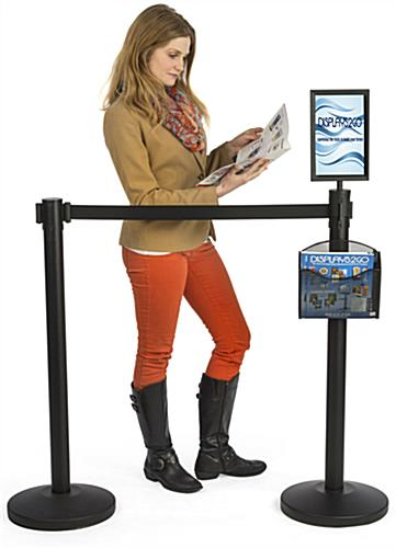 Stanchion w/ Literature Pocket & Sign Frame is Great for Trade Shows