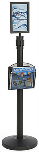 Stanchion w/ Literature Pocket & Sign Frame for Magazines