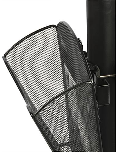 Stanchion w/ Literature Pocket & Sign Holder & Gray Belt – Black Mesh
