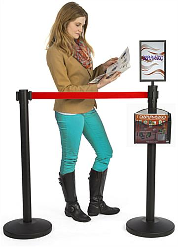 Stanchion w/ Literature Pocket & Sign Holder & Red Belt – 2 Poles Included