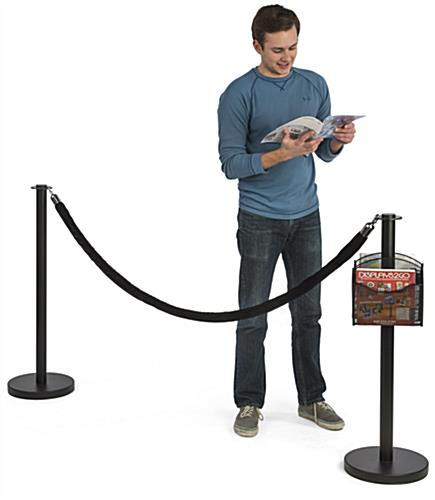 Powder Coated Stanchion Post with 2 Literature Pockets