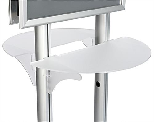 22x28 Twin Pedestal Poster Display with Detail of Frosted Shelves