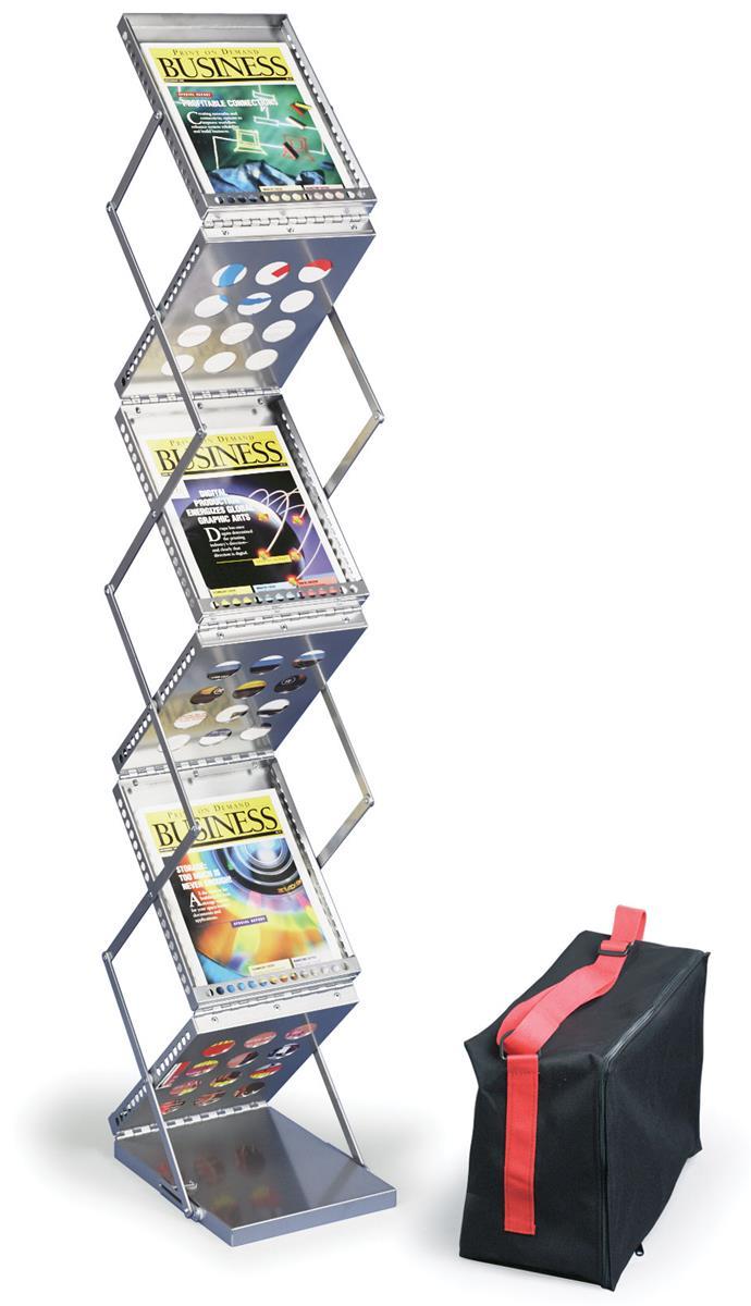 Magazine Stand Designs : Six pocket magazine rack pop up with silver finish