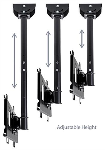 Hanging TV mount with telescoping post adjustable from 21 inches to 31 inches