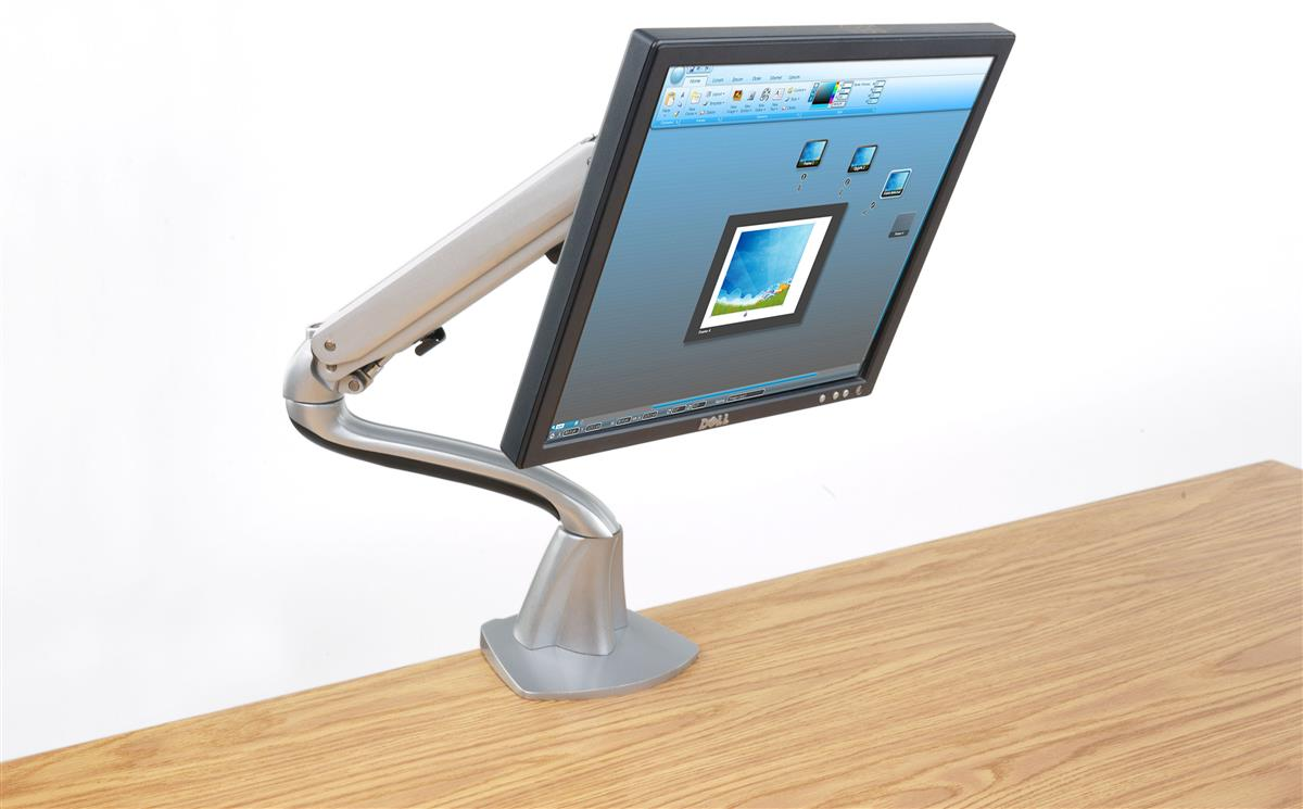 Displays2go Desktop Monitor Stand with Articulating Arm, ...