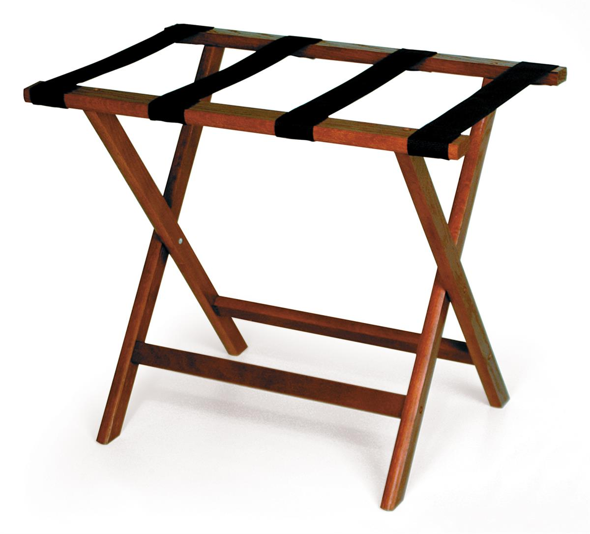 Image of: Wooden Luggage Rack Red Mahogany W Black Straps