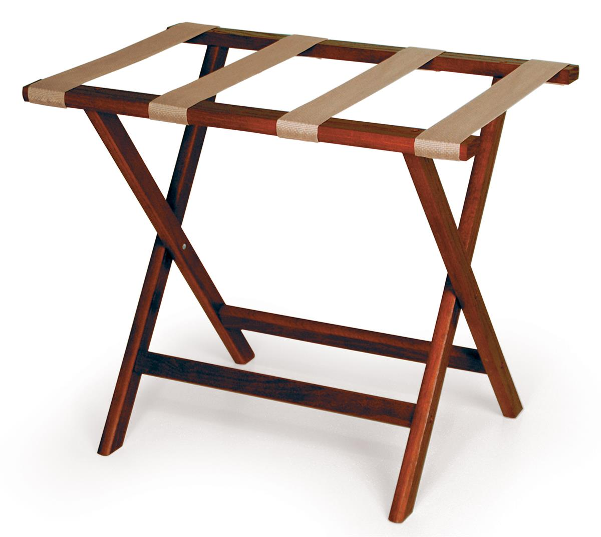 Wood Luggage Rack | Red Mahogany w/ Tan Straps