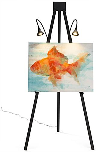 Illuminated gallery standing easel lights paintings without extra hardware