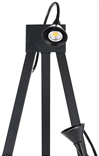Illuminated gallery standing easel with long-lasting LED lights