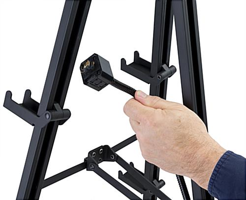 Illuminated gallery standing easel with removable lights