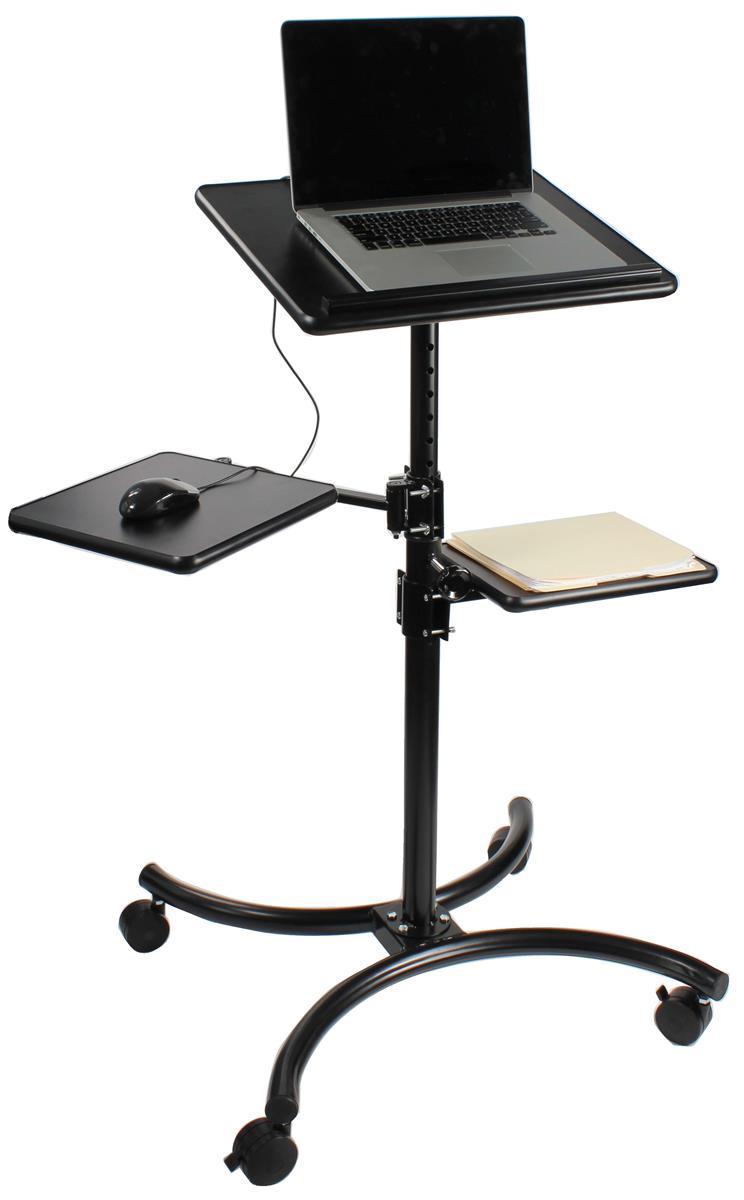 notebook stands height adjustable laptop desk w 2 shelves. Black Bedroom Furniture Sets. Home Design Ideas