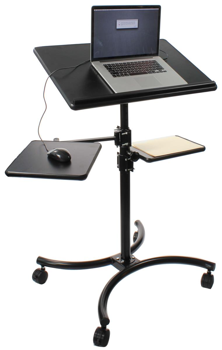 Displays2go Height Adjustable Laptop Stand, 2 Side Shelve...