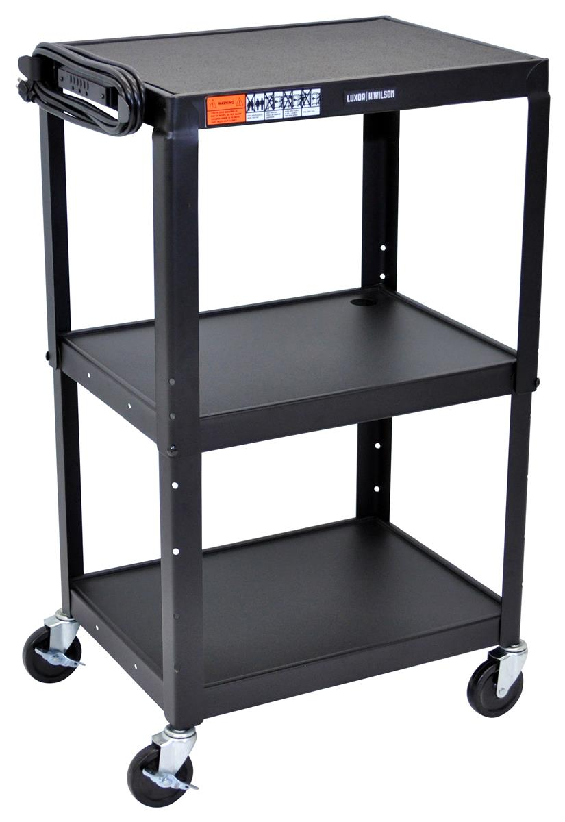 Mobile projector cart w included power strip 3 shelves for West mathi best item
