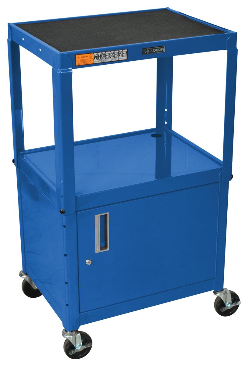 Portable Metal Architecture Cabinets : Steel portable av carts w unique blue finish for