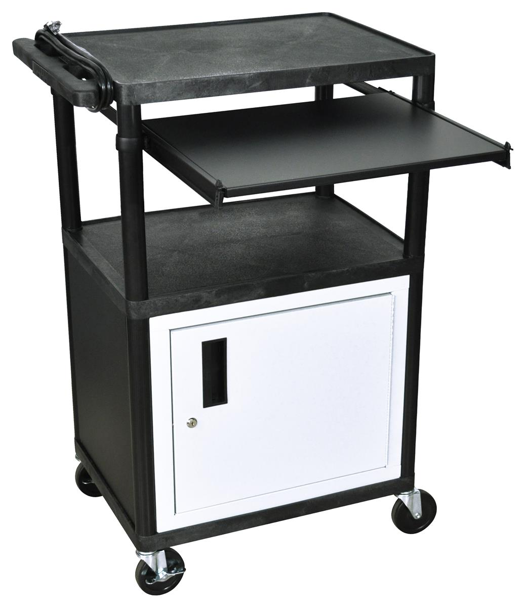Black Multimedia Carts W Pull Out Front Shelf Amp Casters