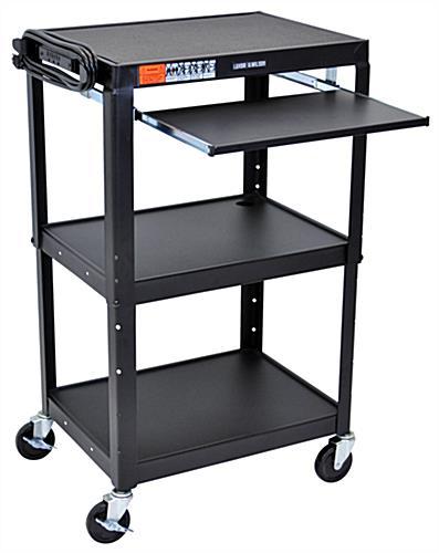 Adjustable av carts w included power outlet slide out shelf av carts sciox Gallery