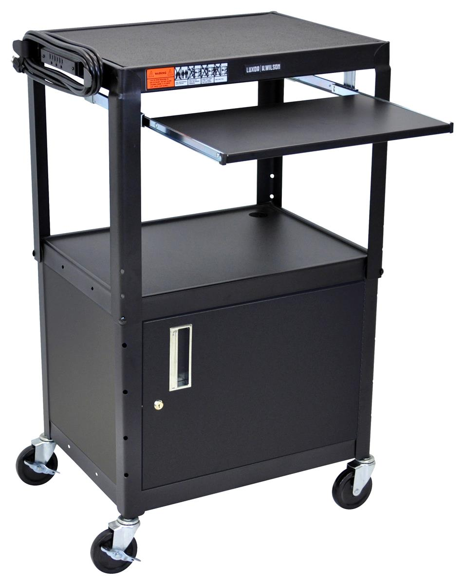 18 Storage Cabinet Height Adjustable Multimedia Carts W Black Finish Lockable Cabinet