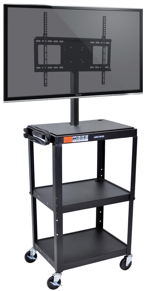 rolling media cart open shelf design. Black Bedroom Furniture Sets. Home Design Ideas