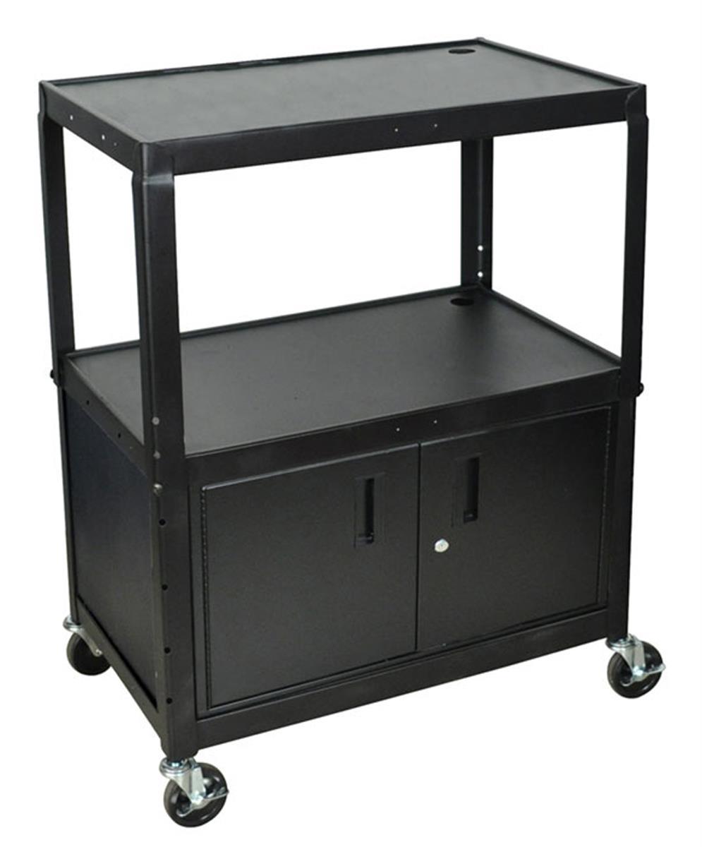 Multi Media Cart W Double Door Cabinet