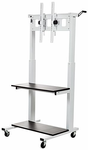 White and Black Crank Adjustable TV Cart