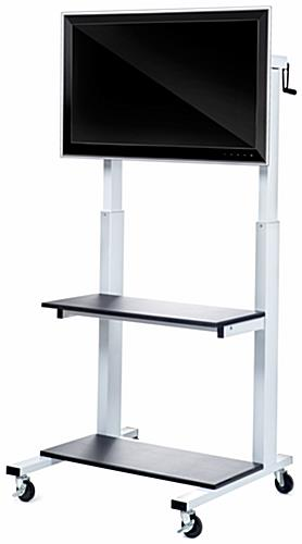 Storage Shelved Crank Adjustable TV Cart
