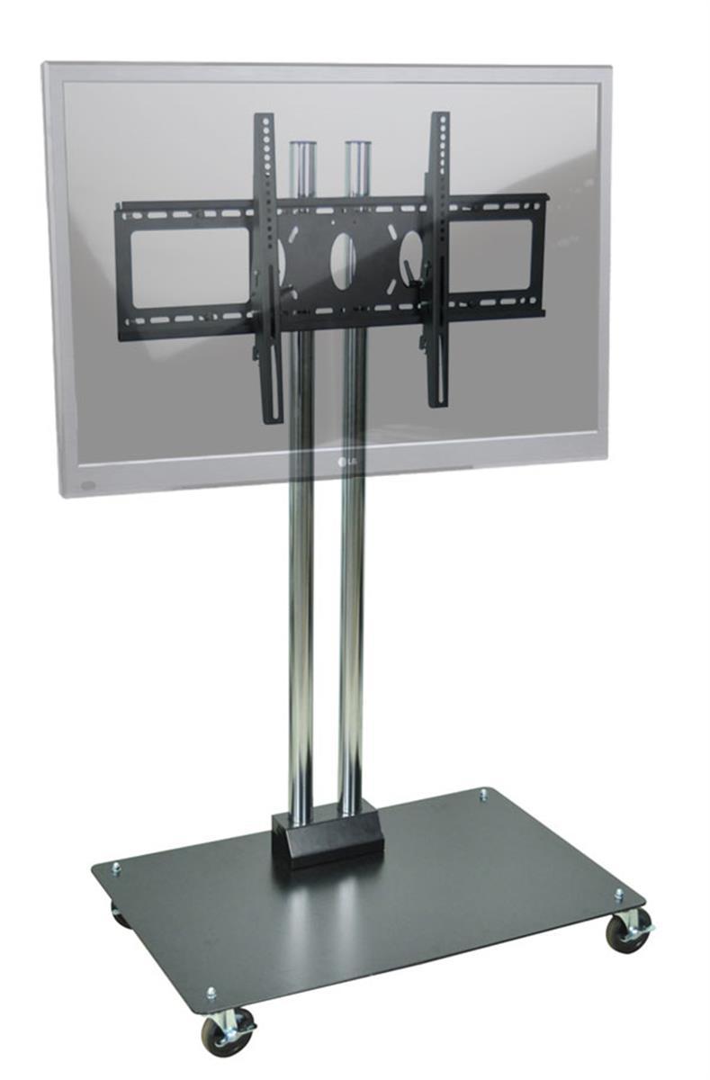65 tall tv cart tilting mount black chrome finishes. Black Bedroom Furniture Sets. Home Design Ideas