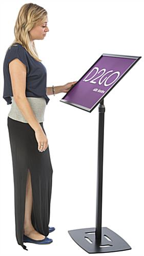 Black 18 x 24 Poster Frame Pedestal Brings Attention to Branding