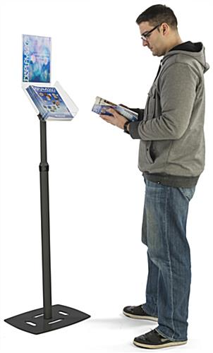 "Black Magazine Tray Stand with 8.5"" x 11"" Header for Signage"