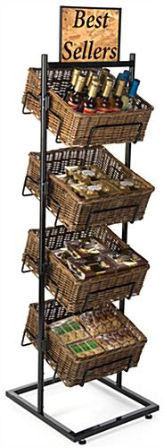 4 Level Basket Display with Wicker Containers