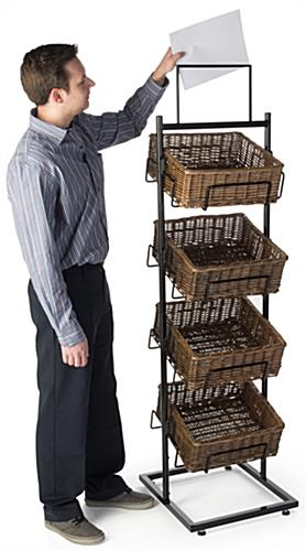 4 Level Basket Display with Double Sided Sign Holder