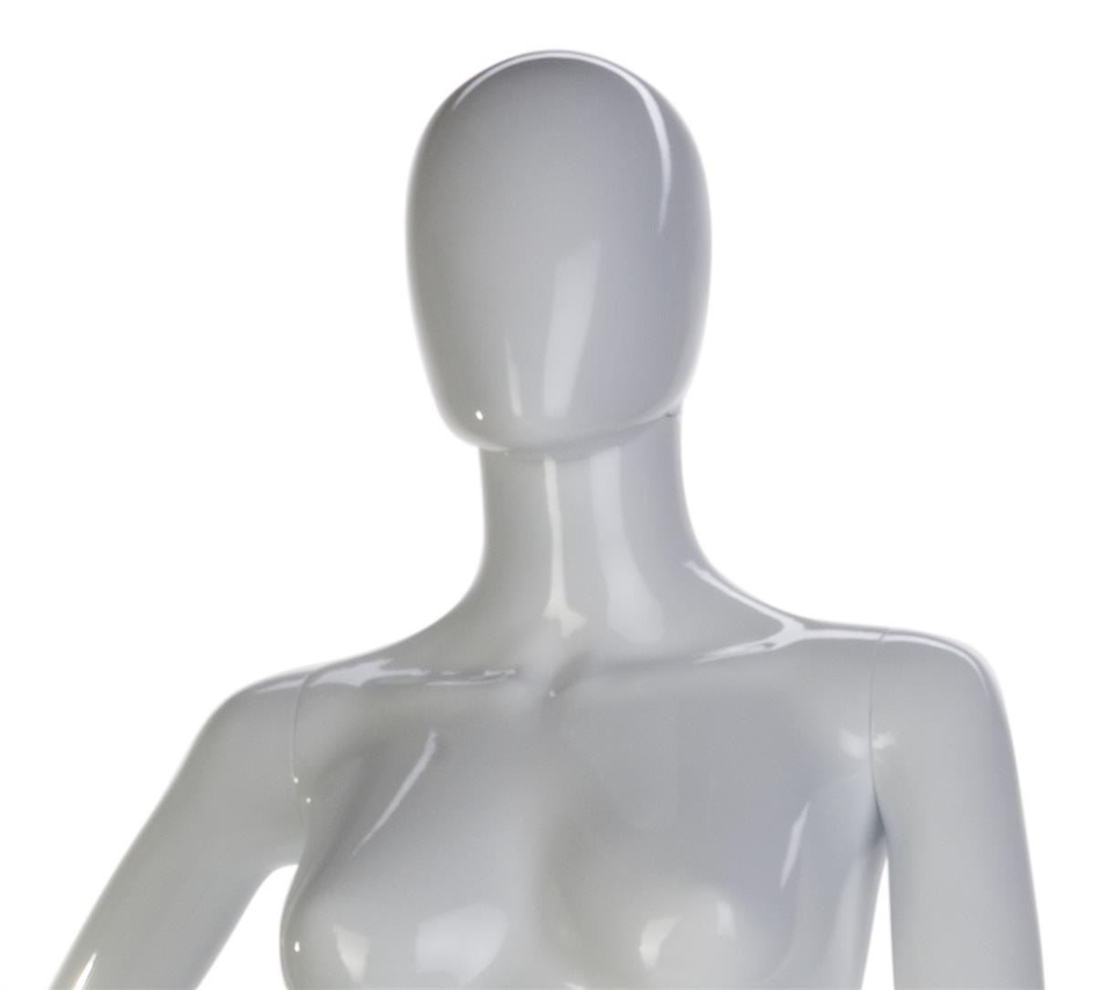 Female Glossy White Mannequin Head Stand 19H