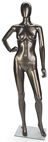Metallic Female Mannequin for Storefront Window Displays