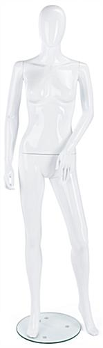 White Female Mannequin with Tempered Glass Base