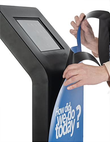 Custom magnetic kiosk graphics for 9.7 IPGRAND Series tablet stands with easy application and removal