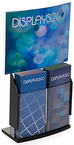 Convex Sign Holder & Brochure Display with Black Base