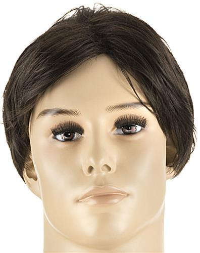 Realistic Male Mannequin with Brown Wig Made of Japanese Kanekalon Fibers