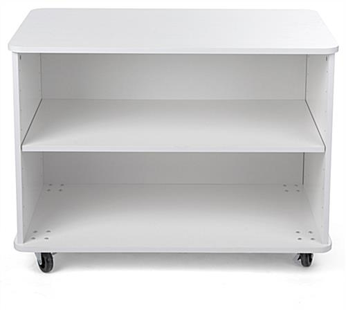 Nesting white wood display shelves with adjustable shelf height