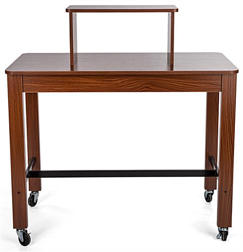Tiered retail nesting table with wheels for boutiques
