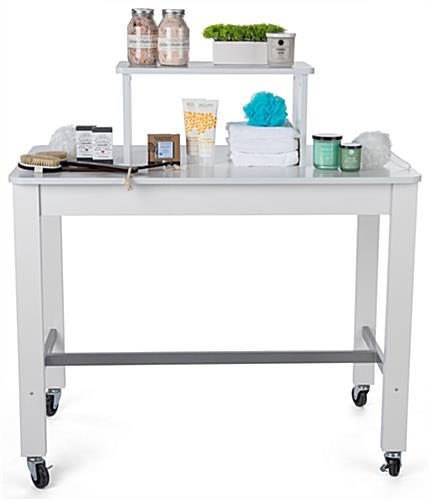 2-tier white nesting display table for boutiques