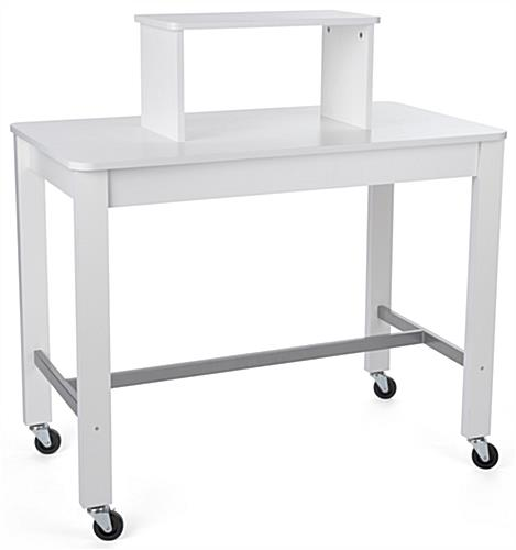 2-tier white nesting display table with riser
